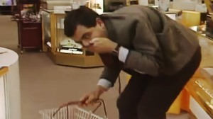 The incomparable Mr. Bean running the perfume gauntlet (click photo for video)